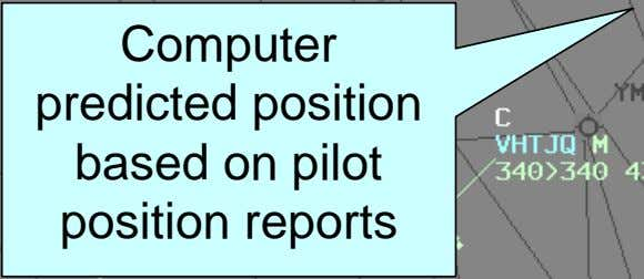 Computer predicted position based on pilot position reports