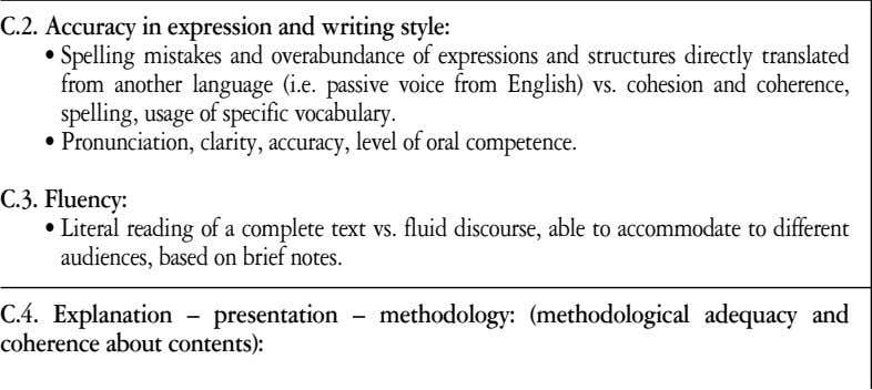 to accommodate to different audiences, based on brief notes. C.4. Explanation – presentation – methodology: