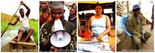 Ekeke, farmer and canoe driver Advertising in the market Fish vendor Leader of the yam