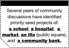 Several years of community discussions have identified priority seed projects of: a school , a