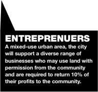 ENTREPRENUERS A mixed-use urban area, the city will support a diverse range of businesses who