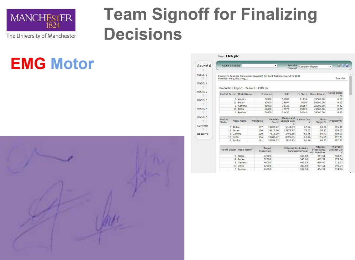 Team Signoff for Finalizing Decisions EMG Motor