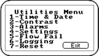 'Utilities' menu and the following screen is displayed: Utilities Menu 5.9.2.1 Time & Date The 'Time