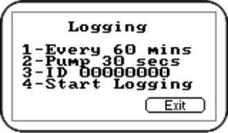 'Logging' menu and the following screen is displayed: Logging Menu Select the desired option by pressing