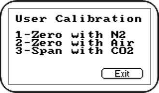'Calibration' Menu, press 'Key 2 - CO 2 channel'. User Calibration Press either 'Key 1 -