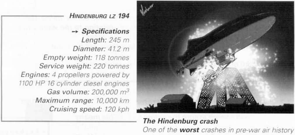 HINDENBURG LZ 194 -* Specifications Length: 245 m Diameter: 41.2 m Empty weight: 118 tonnes