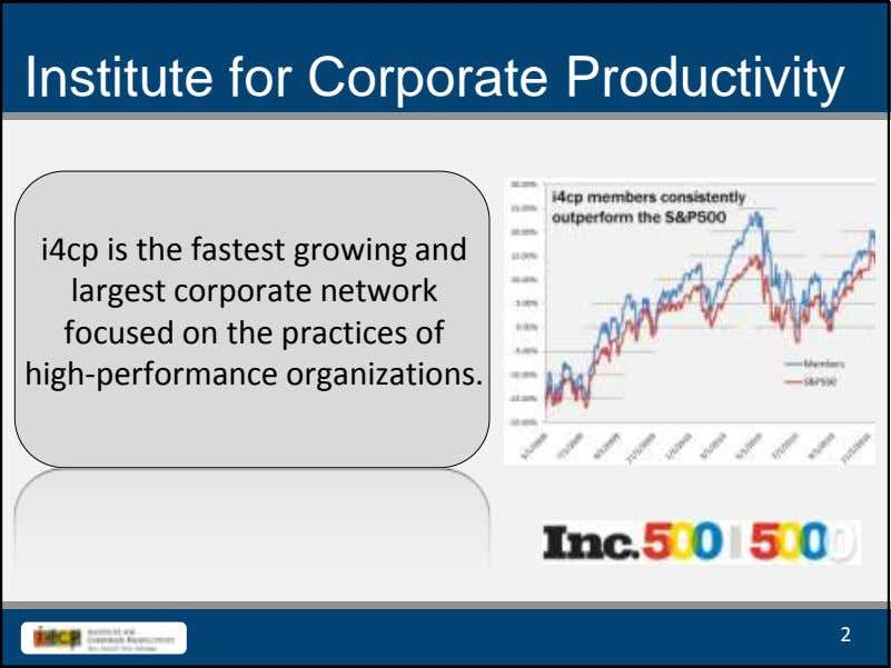 Institute for Corporate Productivity i4cp is the fastest growing and largest corporate network focused on