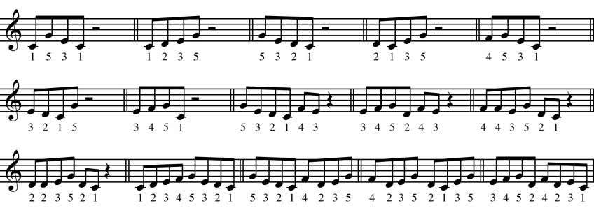 Some sample motives taken from a five-note C major scale: These little motive shapes could be