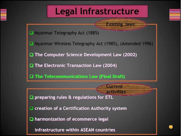Legal Infrastructure Myanmar Telegraphy Act (1885) Myanmar Wireless Telegraphy Act (1985), (Amended 1996) TheThe
