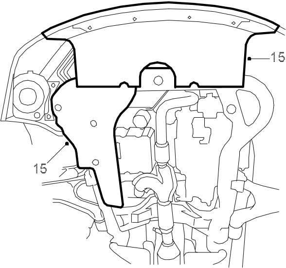 2. Engine\Basic engine, V6 Adjustment/Replacement - Cams 15. Fit the lower spoiler sections. 9-5 (9600) 3