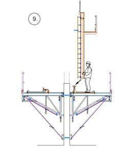 Typical Erection Sequence Second Lift Engage the wedge brakes on all Rapidclimb Trolleys. Crane in the