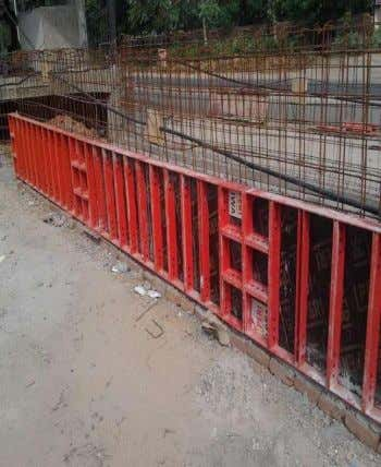 Arrangement of Wall Panels Before Concreting Wall Formwork Joining of four panels through Cup -
