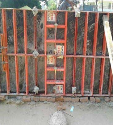 Arrangement of Wall Panels Before Concreting Wall Formwork Joining of four panels through Cup - lock,