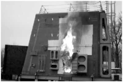 aramid fibre reinforcements were also selectively employed. Figure 2.4-5 - fire testing of a prototype composite