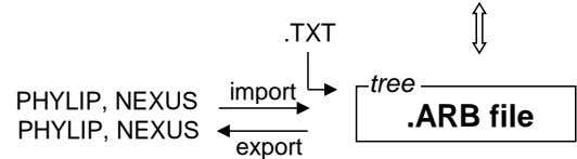 .TXT tree import PHYLIP, NEXUS PHYLIP, NEXUS .ARB file export