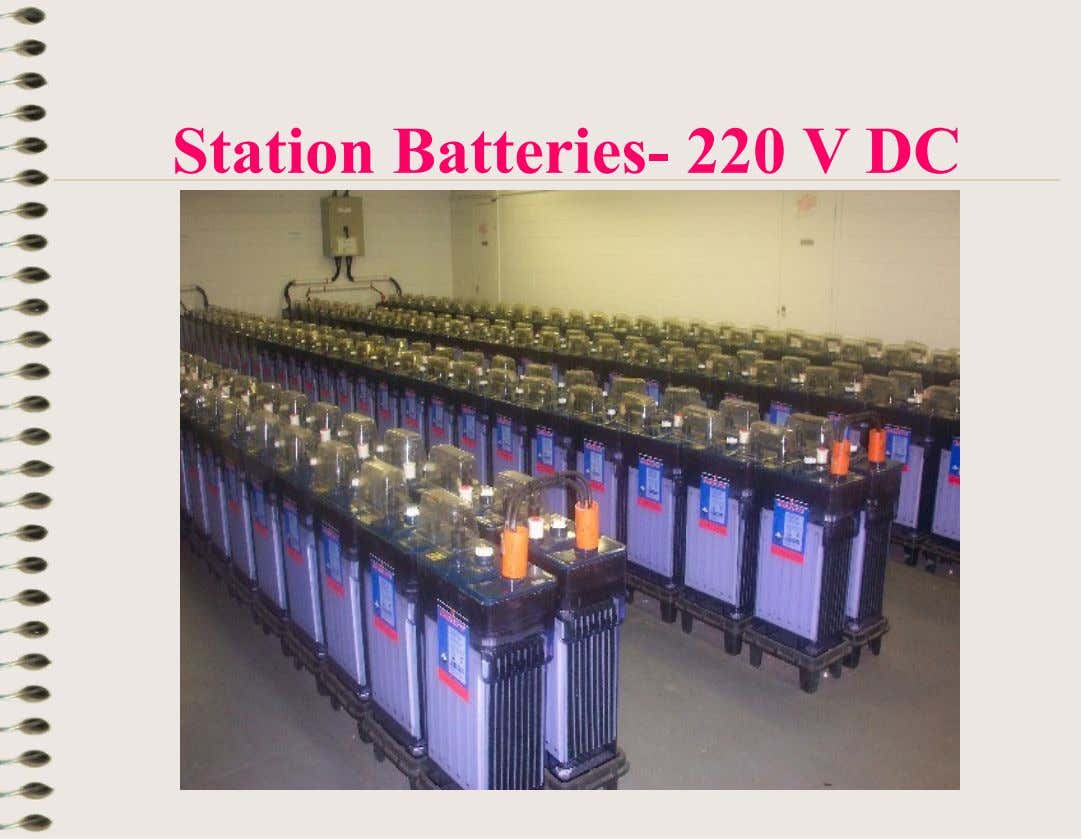 Station Batteries- 220 V DC