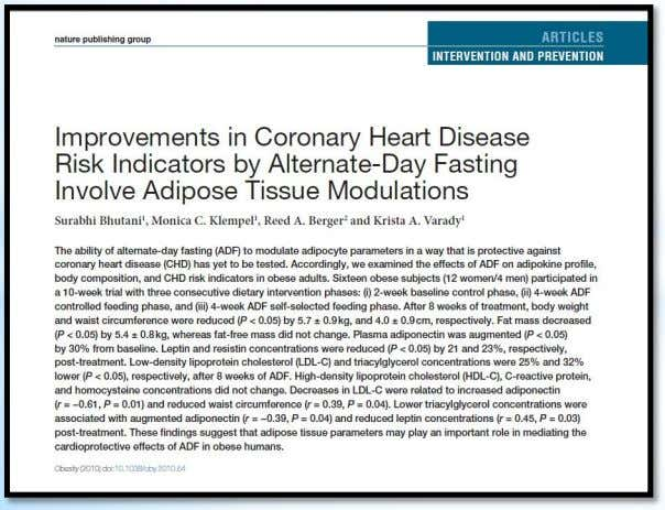 "may play an important role in mediating the cardioprotective effects of ADF in obese humans"" Corazón"