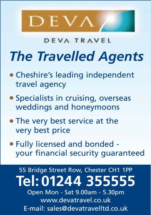 The Travelled Agents • Cheshire's leading independent travel agency • Specialists in cruising, overseas weddings