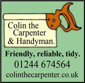 Colin the Carpenter & Handyman. Friendly, reliable, tidy. 01244 674564 colinthecarpenter.co.uk