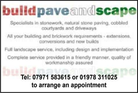 Tel: 07971 583615 or 01978 311025 to arrange an appointment