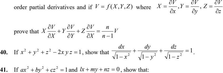  V  V  V order partial derivatives and if V  f (X