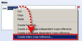 index cross- reference can be selected via the context menu and be defined: If the cross-reference
