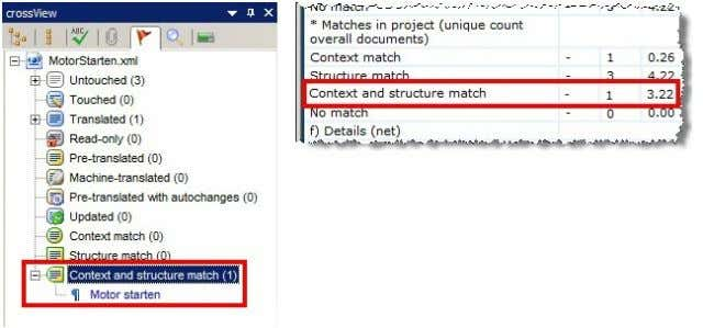 structure matches are presented separately in the reports: Structure Matches, Pre-translation and Bonus Points The