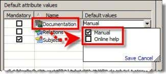 "attribute values in the ""Default values"" column: The defined default attribute values are preselected when"