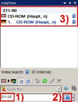 field, and the search can be started by clicking the icon: For the search for index