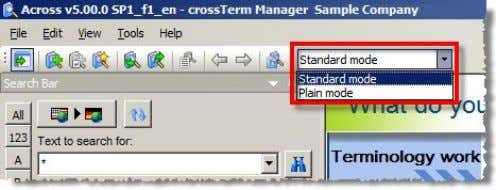 view from a new drop-down list in the crossTerm Manager: What's New in Across v5.0 SP1?
