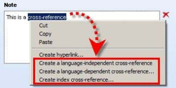 cross-reference type can be selected via the context menu: You can select a language-dependent or a
