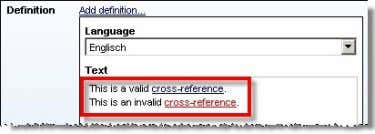 as usual. Invalid cross-references are displayed in red: Apart from the automatic check of cross-refe rences,