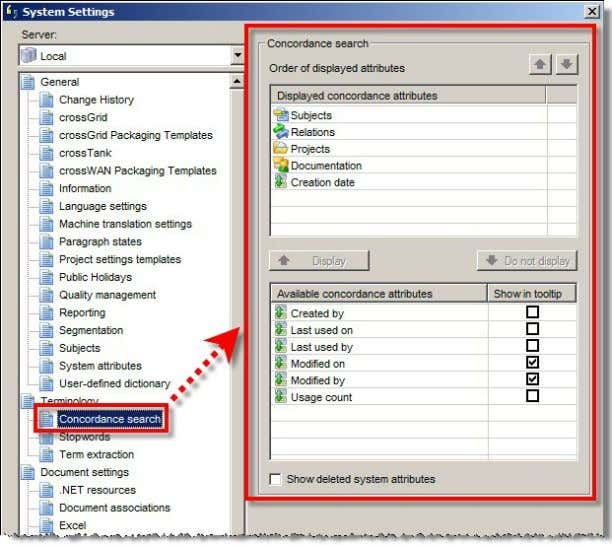 """Concordance search"" section of the system settings: In addition, a respective checkbox in the ""Show in"