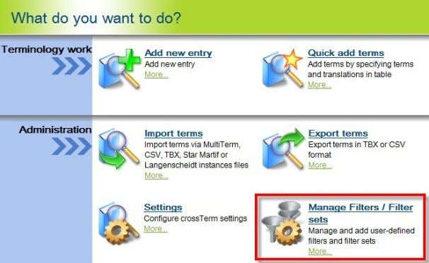 What do you want to do? module of the crossTerm Manager:  Possibility of defining terms