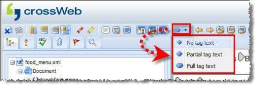 XML). The tag display mode can be selected with the icon: The tag texts are displayed