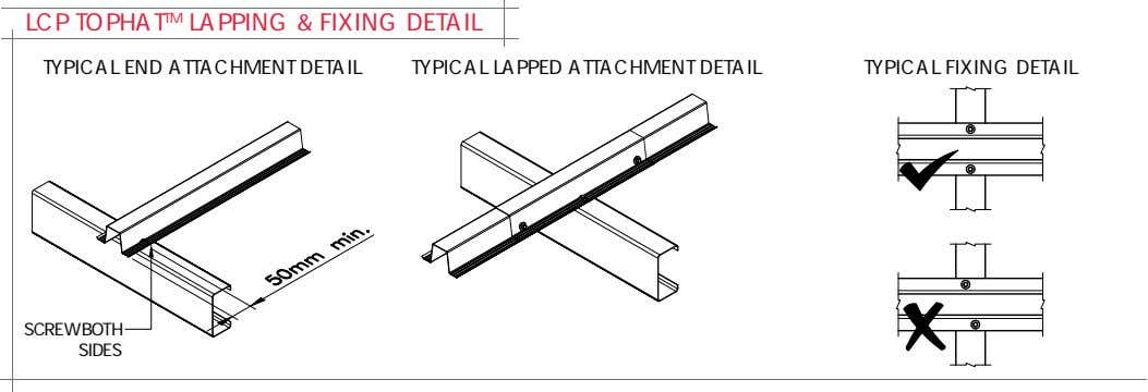 LCP TOPHAT TM LAPPING & FIXING DETAIL TYPICAL END ATTACHMENT DETAIL TYPICAL LAPPED ATTACHMENT DETAIL