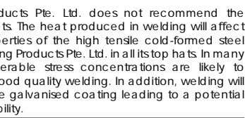LCP Building Products Pte. Ltd. does not recommend the welding of top hats. The heat