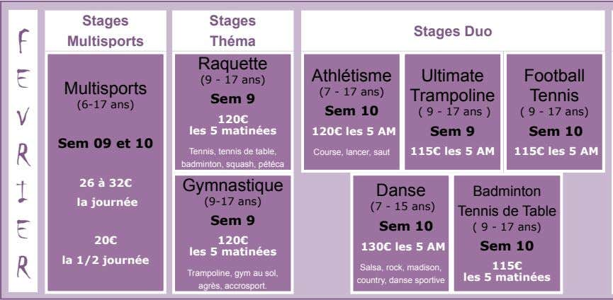 Stages Stages Stages Duo F Multisports Théma Raquette E Athlétisme Ultimate Football (9 - 17