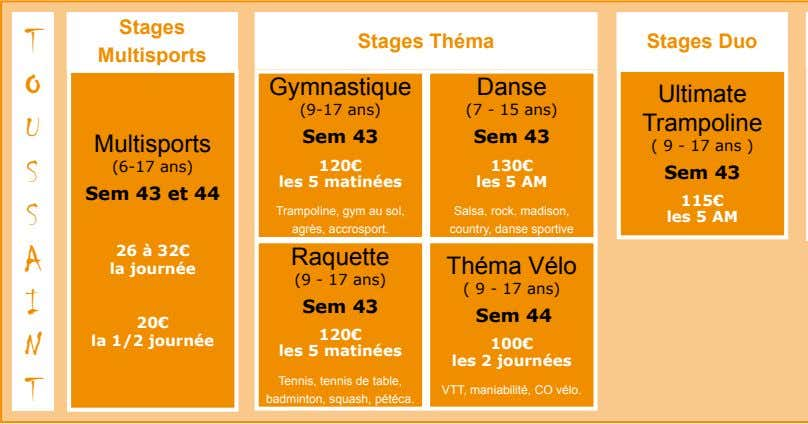 Stages T Stages Théma Stages Duo Multisports O Gymnastique Danse Ultimate (9-17 ans) (7 -