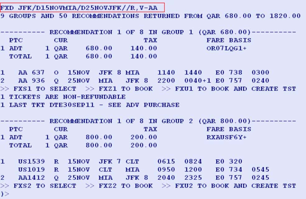 AND PERFORM BSP CHECKS Entry: FXD JFK/D15NOVMIA/D25NOVJFK //R,V-AA System Response: Page 31 of 54 Amadeus Qatar