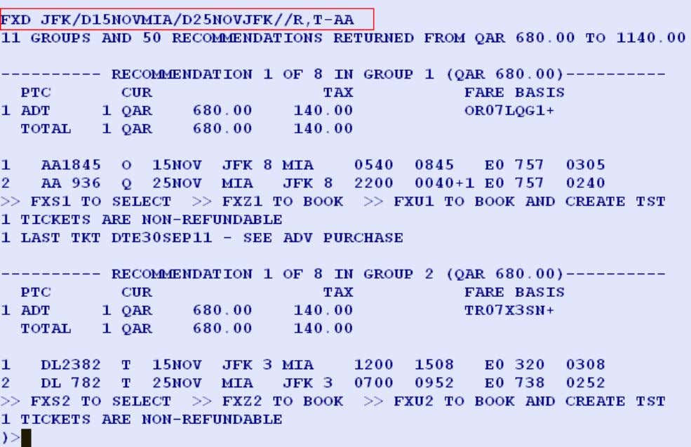 NOT PERFORM BSP CHECKS Entry: FXD JFK/D15NOVMIA/D25NOVJFK //R, T-AA System Response: Page 32 of 54 Amadeus