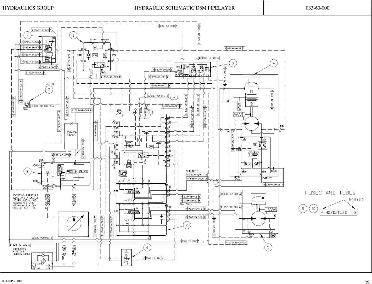 HYDRAULICS GROUP HYDRAULIC SCHEMATIC D6M PIPELAYER 033-60-000 033-08PB-001B 49