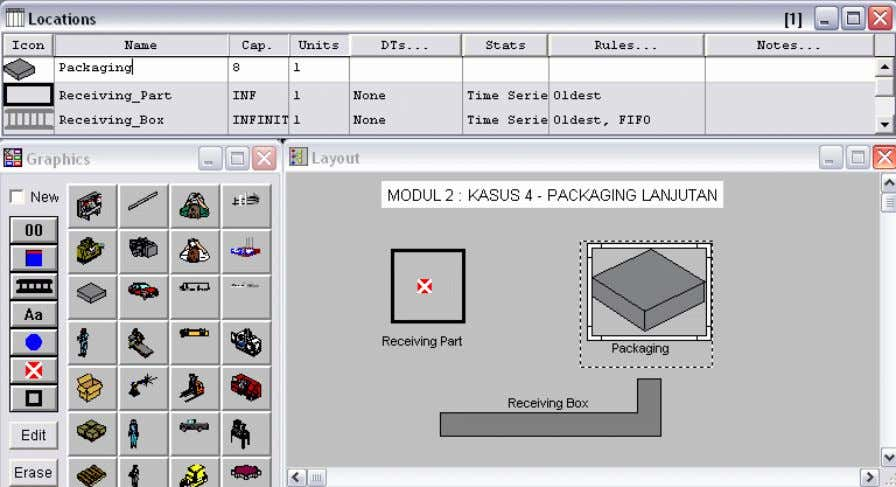 Receiving_Box dan Packaging (lihat Gambar 4.2) Gambar 4.2. Pendefinisian Location : Receiving_Part,