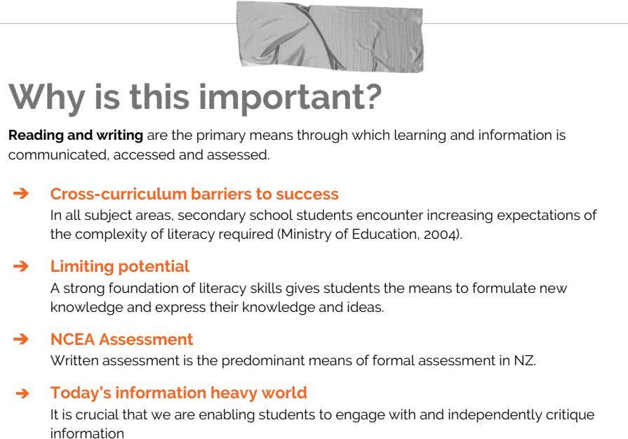 Why is this important? Reading and writing are the primary means through which learning and information
