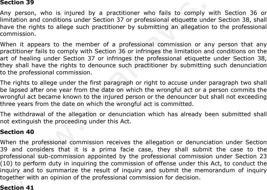 Section 39 Any person, who is injured by a practitioner who fails to comply with