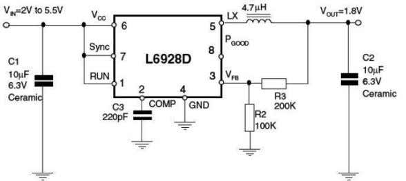 • Freq.: 1.4MHz synchronizable up to 2 MHz (L6928) • Current Mode Control • Thermal shut