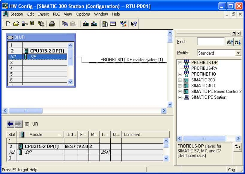 8. Once all the parameters are set, a PROFIBUS DP bus will appear after the UR