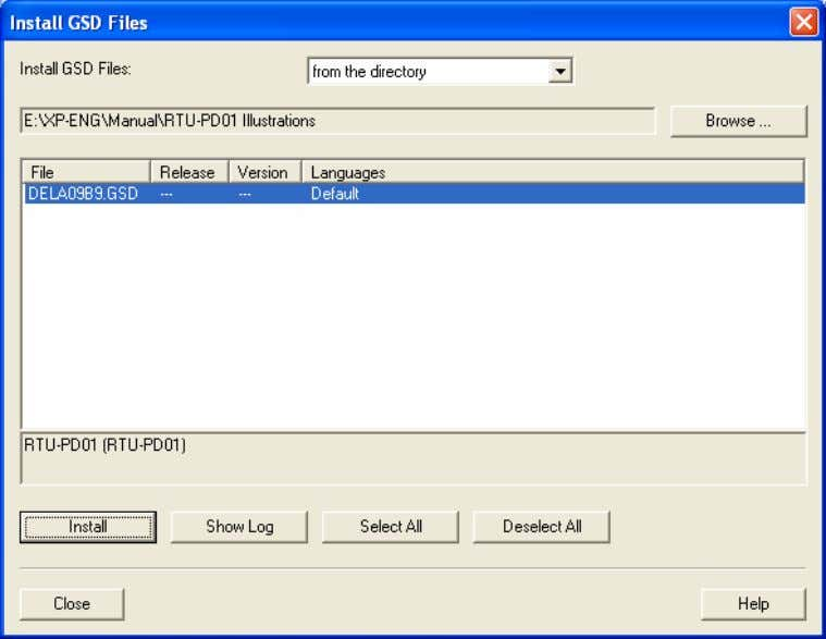 "the path of the GSD file, select it and click ""Install"" to add the GSD file"