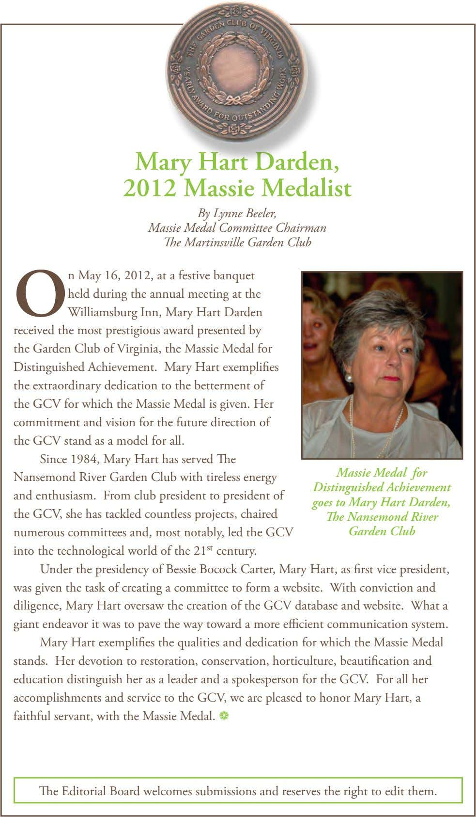 Mary Hart Darden, 2012 Massie Medalist By Lynne Beeler, Massie Medal Committee Chairman The Martinsville Garden