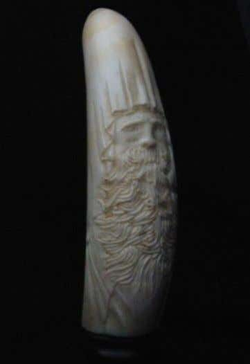 at his intriguing work go to http://to.pbs. org/2p8oDfG.  Jim Stevens, Wizard, 2001, ivory carving, 6""